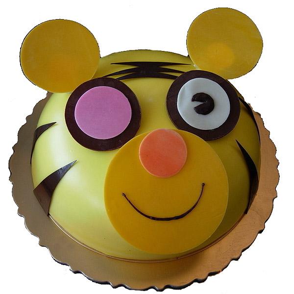 [订购电话]:0755-28280505 [说 明]:蛋糕中间鲜果夹心口味。蛋糕表面创意卡通老虎头像造型。 [附 送]:刀、叉、盘、蜡烛 [留言反馈]:您对小老虎宝宝蛋糕_有什么好的意见建议欢迎告诉我们!