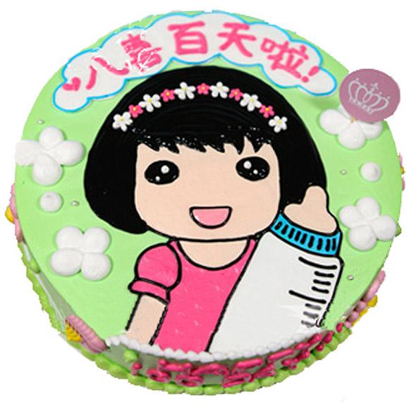 [订购电话]:0755-28280505 [说 明]:蛋糕中间鲜果夹心。蛋糕表面卡通漫画造型。宝宝周岁,100天蛋糕 [附 送]:刀、叉、盘、蜡烛 [留言反馈]:您对女宝宝百天蛋糕_宝宝周岁蛋糕有什么好的意见建议欢迎告诉我们!
